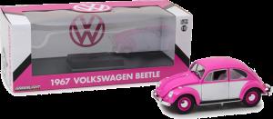 GreenLight 1:18 1967 Volkswagen Beetle RH Drive Pink; White Diecast - 13512