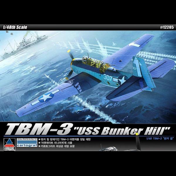 """Academy 1/48 Scale US Navy TBM-3 Avenger """"USS Bunkerhill"""" Torpedo Bomber - 12285"""