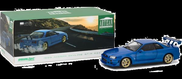 GreenLight 1:18 1999  Nissan Skyline GT-R (R34) Bayside Blue Diecast Car -19032