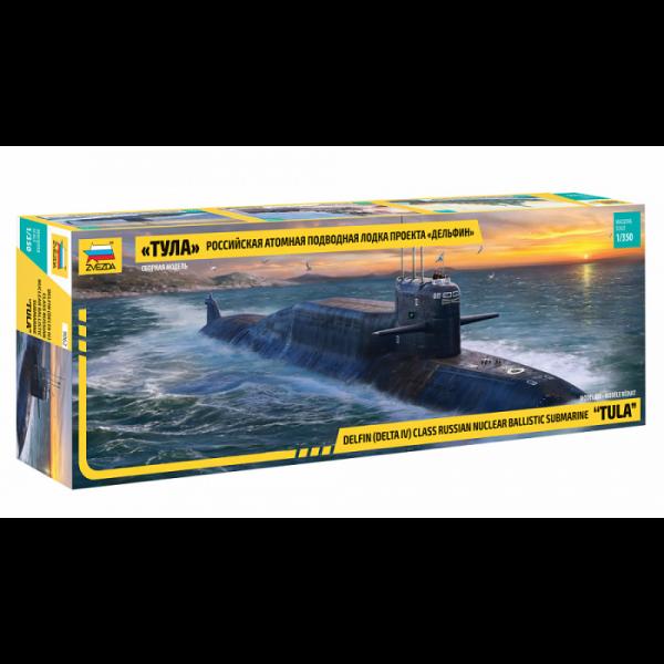 """Zvezda 1:350 Scale Russian K-114 Delfin (Delta IV) Class Nuclear Ballistic Submarine """"TULA"""" - 9062"""