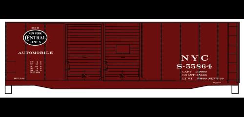 New York Central 40' AAR Double Door Steel Boxcar - 3640